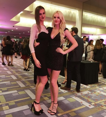 My dress is from American Apparel. Jazminn's dress is from Top Shop! (Jazminn is 6'1)!