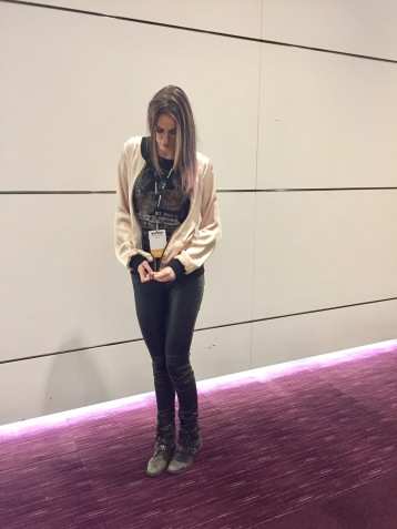 Bomber from Tall Girls UK, Pants from Long Tall Sally, paired with a vintage band tee and studded combat boots